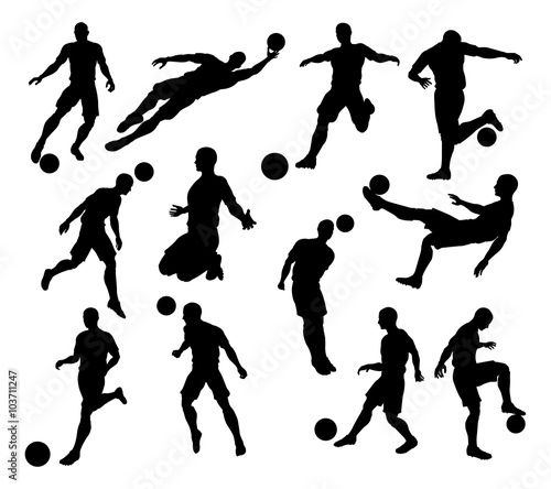 Silhouette Soccer Players Wallpaper Mural