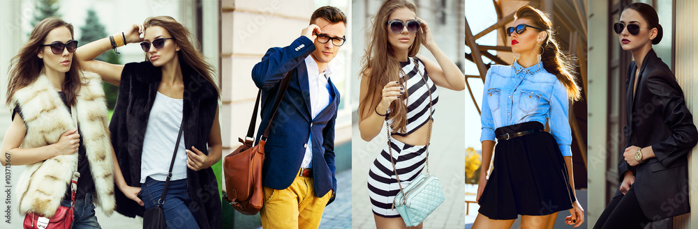 Fototapety, obrazy: The concept  fashion beauty female and male. Collage of young women and men in glasses wearing in trendy clothes, with make up and accessories. Close up. street shot