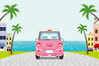 Driving retro Pink Car in Summer seaside town