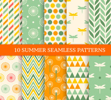 Ten Retro Different Summer Seamless Patterns