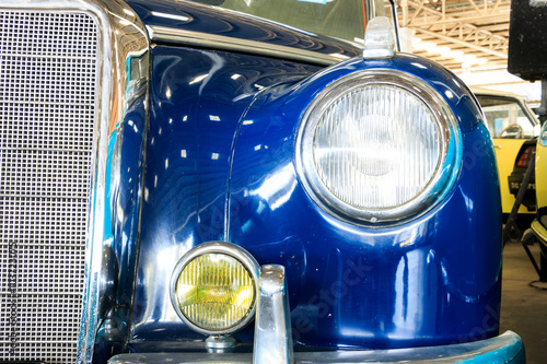 Close Up of Headlight Lamp Vintage Classic Car. (Vintage Effect Style) - 103723075