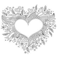 Coloring Page Flower Heart St ...