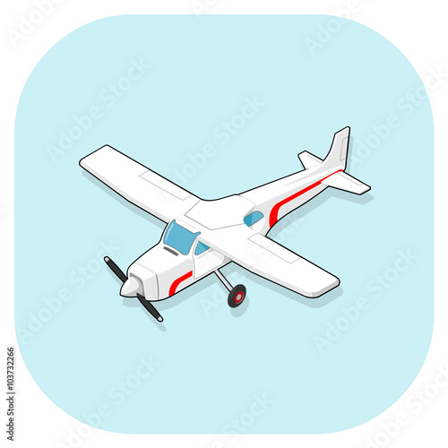 Vector Illustration Of An Isometric Light Aircraft Plane Isometric