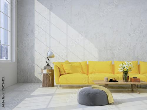Fotografía  living room loft interior. 3d rendering