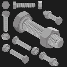 Bolt And Nut Set All View Isom...
