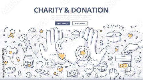 Fotografie, Obraz  Charity & Donation Doodle Concept