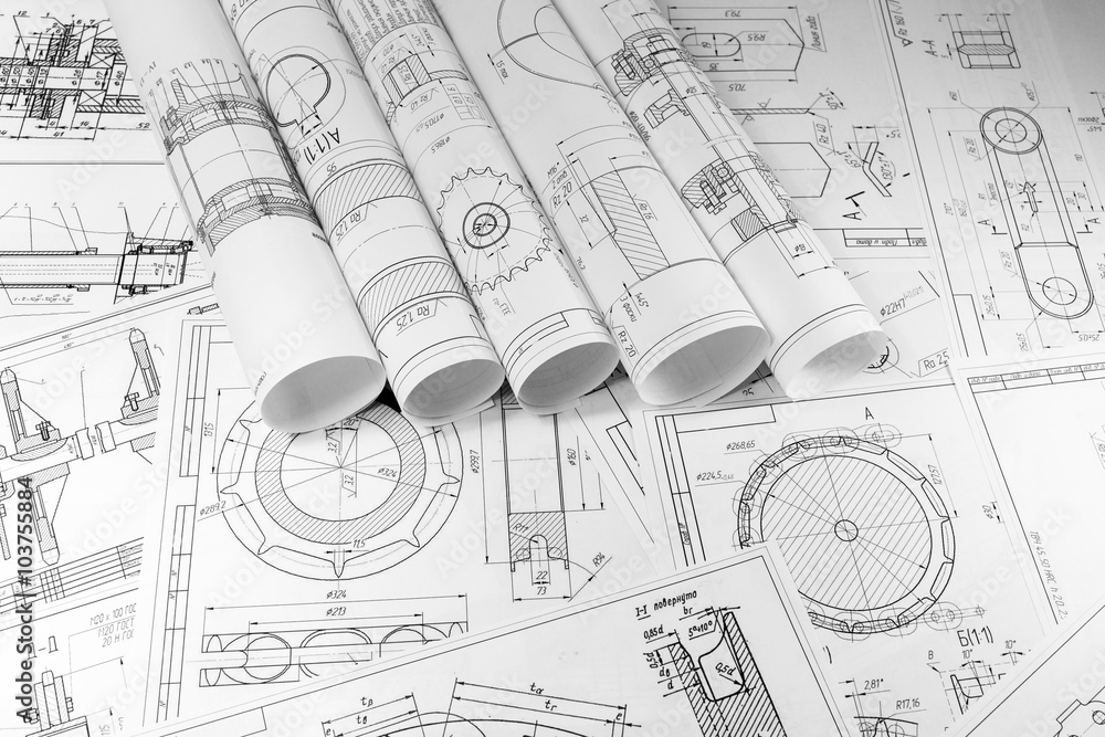 Photo  Engineering and technology. Technical drawing.