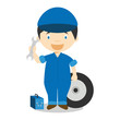 Cute cartoon vector illustration of a mechanic