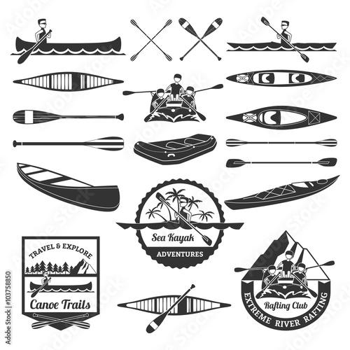 Vászonkép Rafting Canoeing And Kayak Elements Set
