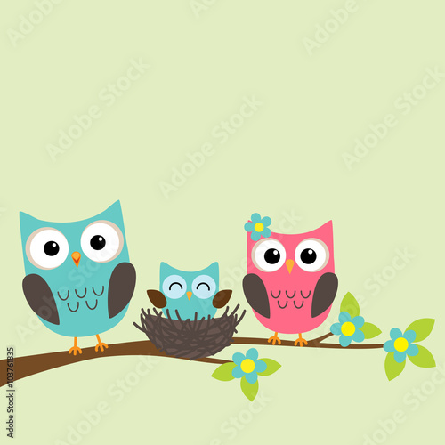 Photo Stands Owls cartoon Family of owls