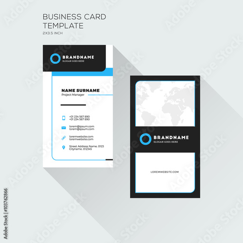 Vertical Business Card Print Template Personal Visiting Card With