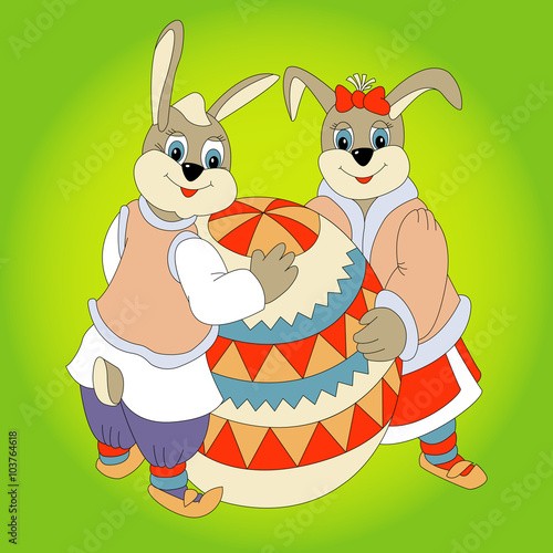 Foto op Canvas Schepselen Two Rabbit Easter Egg