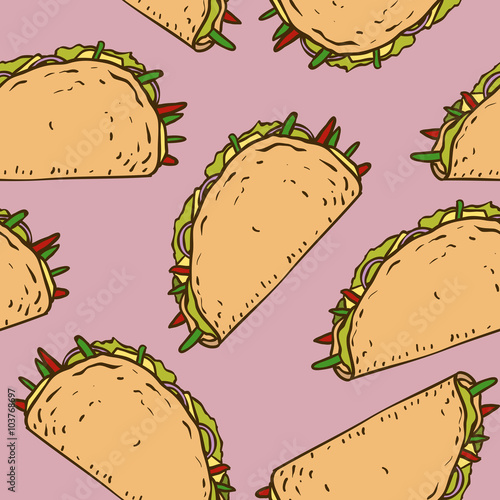 Fotografie, Obraz  Seamless Pattern with Mexican Taco in Wheat Tortilla