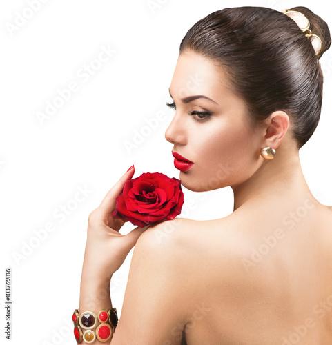 Obraz na plátně  Krásná žena s rudou růží květ