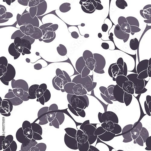 Foto op Canvas Bloemen zwart wit Flower orchid decoration design seamless texture pattern