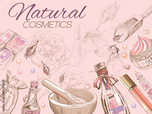 Rose Natural Cosmetic Banner Design For Cosmetics Store Spa Beauty Salon Natural And Organic Products Vector Illustration Buy This Stock Vector And Explore Similar Vectors At Adobe Stock Adobe Stock