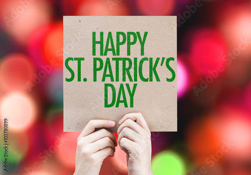 Photo  Happy St Patricks Day placard on bokeh background