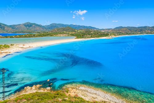 Photo  A view of Villasimius beach on Sardinia island, Italy