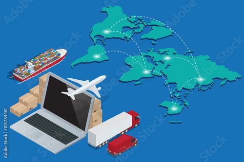 Fotografía  Global logistics network Concept of air cargo trucking rail transportation maritime shipping customs clearance