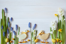Easter Background With Flowers...