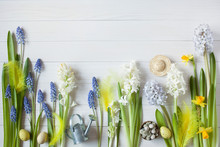 Easter Background With Flowers Hyacinths, Daffodils And Eggs