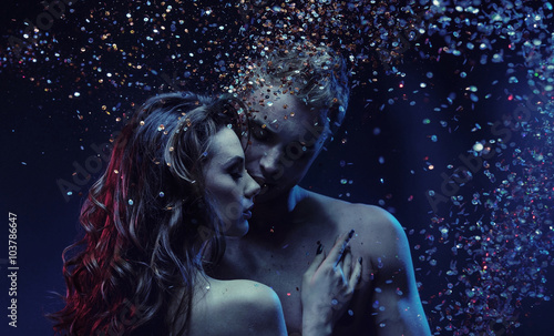 Printed kitchen splashbacks Artist KB Romantic portrait of a nude couple