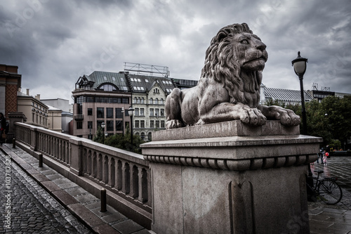 Lion statue near the Parliament of Norway in Oslo Poster