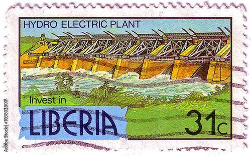 Photographie  LIBERIA - CIRCA 1981: A 31-cent stamp printed in Liberia shows a hydro electric