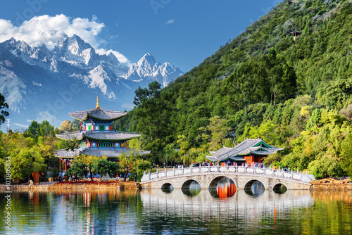 Beautiful view of the Jade Dragon Snow Mountain, Lijiang, China