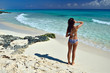 Young woman in a swimsuit standing on the shore and looking at t