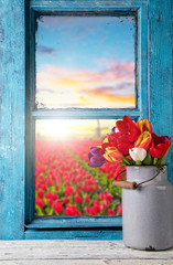 Fototapeta Easter still life decoration with rustic window