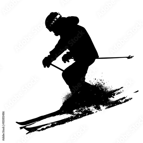 Photo  Mountain skier  speeding down slope. Vector sport silhouette