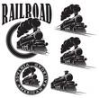 set of vector templates with locomotive, vintage train