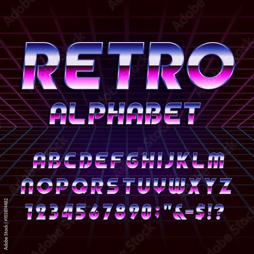 Fotografia  80's retro alphabet vector font
