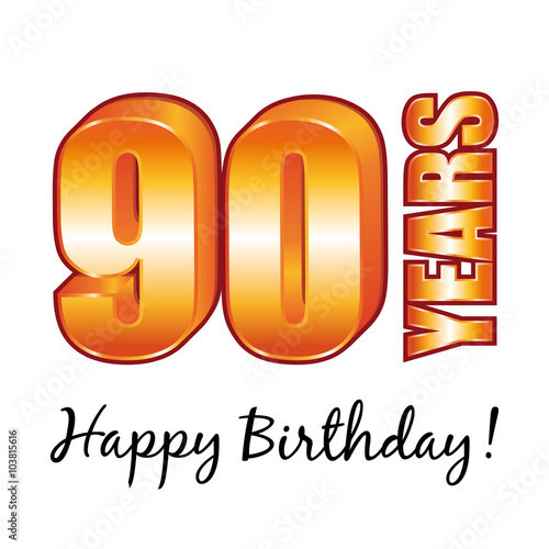 Happy Birthday 90 Years Old Vector Greeting Card