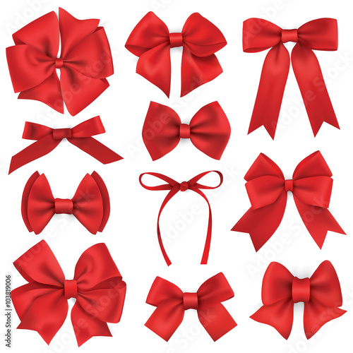 Fotografie, Obraz  Big set of realistic red gift bows and ribbons