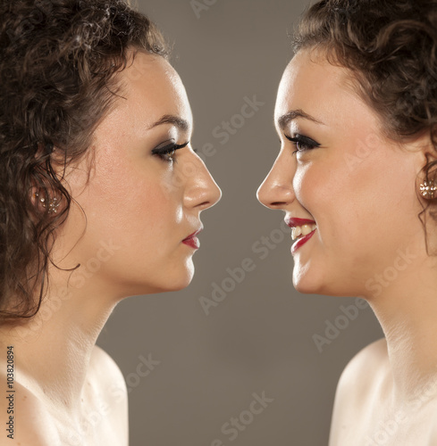 comparison portrait of a woman with a nose before and after
