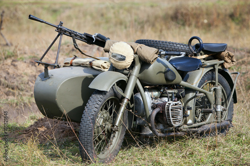Old military motorcycle Canvas Print