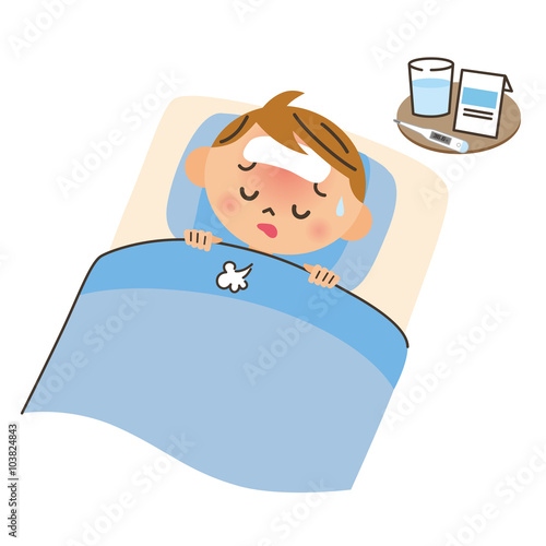 Fotografia  病気で寝込む子供