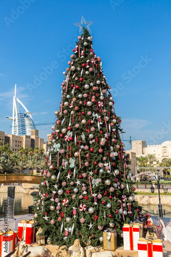 Burj Al arab and Christmas tree Poster