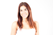 Beauty Young Woman With Red Hair Smiling With White Teeth.