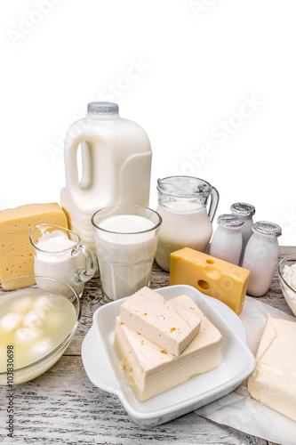 Poster Produit laitier Assortment of dairy products