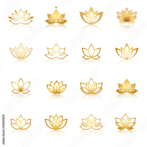 Photographie  Golden Lotus symbol icons. Vector floral labels for Wellness ind