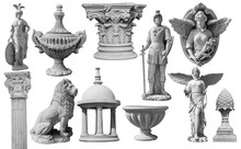 Collection Of Statues Isolated On White Background, Image Include Clipping Path For Remove Background
