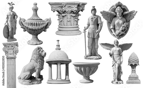 Fotografia Collection of statues isolated on white background, image include clipping path