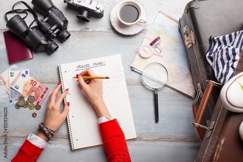 Fotografia  Woman making traveling plan