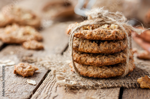Foto auf Leinwand Kekse homemade oatmeal cookies with nuts