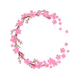 Spring wreath with cherry blossoms. Place for text.