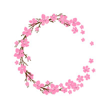 Spring Wreath With Cherry Blos...