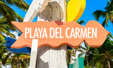 Playa Del Carmen Welcome Sign With Palm Trees